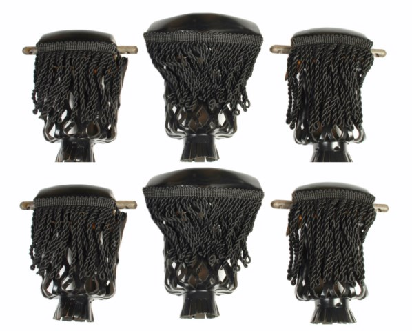 Leather Set of 6 Pool Table Billiard Pockets W Fringe Black